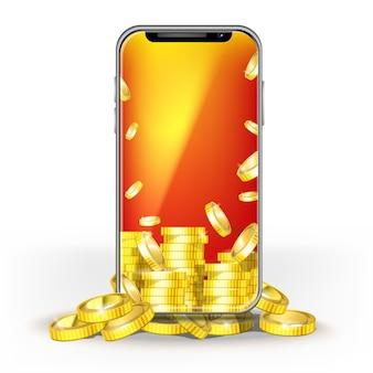 Telefon komórkowy z ekranem brite i zestawem złotych monet. szablon projektu układu banku, gry, sieci mobilnej lub technologii, bonusy za jackpota