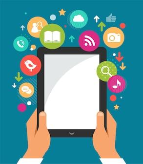 Telefon komórkowy z ikonami. plansza i tło strony internetowej
