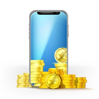 Telefon komórkowy z niebieskim ekranem i zestawem złotych monet. szablon do gry układowej, sieci komórkowej lub technologii, bonusów lub jackpota
