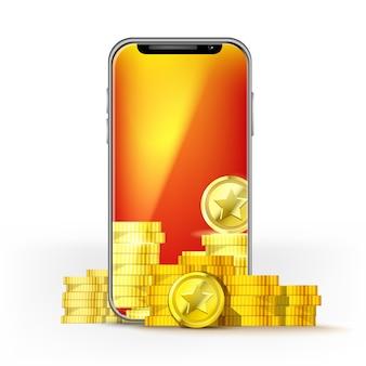 Telefon komórkowy z pomarańczowym ekranem i zestawem złotych monet. szablon do gry układowej, sieci komórkowej lub technologii, bonusów lub jackpota