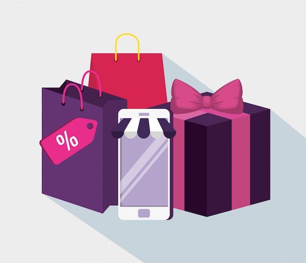 Telefon komórkowy z torbą i prezentami