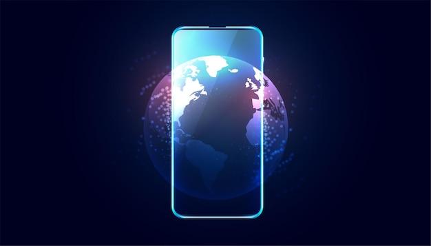 Telefon Komórkowy Z Wyświetlaczem Ziemi Darmowych Wektorów