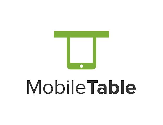 Telefon komórkowy ze stołem prosty elegancki kreatywny geometryczny nowoczesny projekt logo