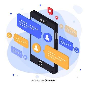 Telefon otoczony wiadomościami w stylu izometrycznym