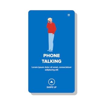 Telefon rozmowy człowieka z przyjaciółmi lub rodziny wektor. biznesmen telefon rozmawia komunikację i dyskusję. kontakt znaków z subskrybentem na urządzeniu bezprzewodowym ilustracja kreskówka płaski web