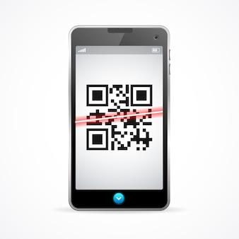 Telefon skanera kodów kreskowych na białym tle.