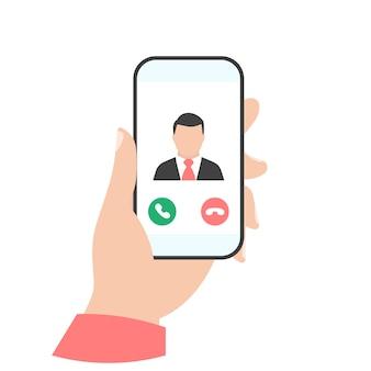 Telefon w ręku. połączenie