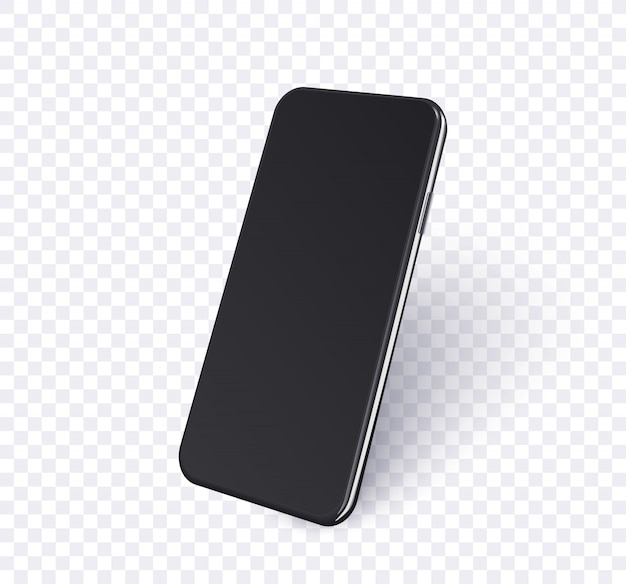 Telefon w widoku perspektywicznym. realistyczny czarny telefon komórkowy z pustym ekranem i cieniem