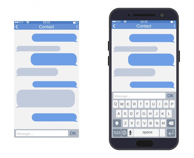 Telefon z aplikacją do przesyłania wiadomości sms,