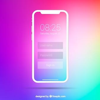 Telefon z gradientową tapetą