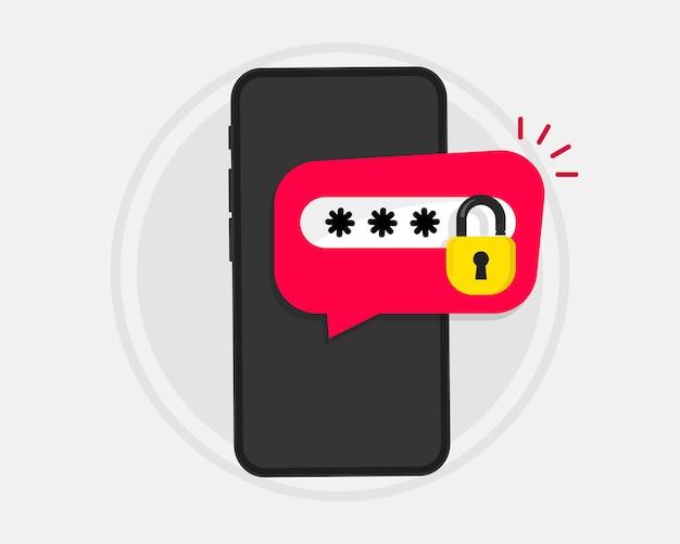 Telefon z hasłem. ochrona hasłem, alert bezpieczeństwa smartfona, dostęp osobisty, autoryzacja, technologia ochrony. odblokowany przycisk powiadomienia telefonu komórkowego i wprowadzenie hasła na ekranie