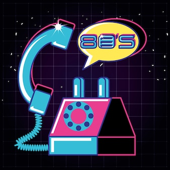 Telefon z lat osiemdziesiątych retro na białym tle ikona