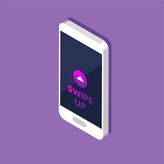 Telefon z przyciskiem szybkiego dostępu do mediów społecznościowych na ekranie, reklamy i marketingu w różnych aplikacjach.