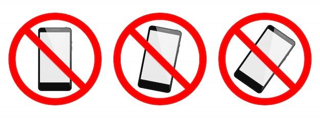 Telefon zabronione wektor znak. żaden telefon, żaden znak smartfona na białym tle. zestaw znaków bez telefonu komórkowego, na białym tle