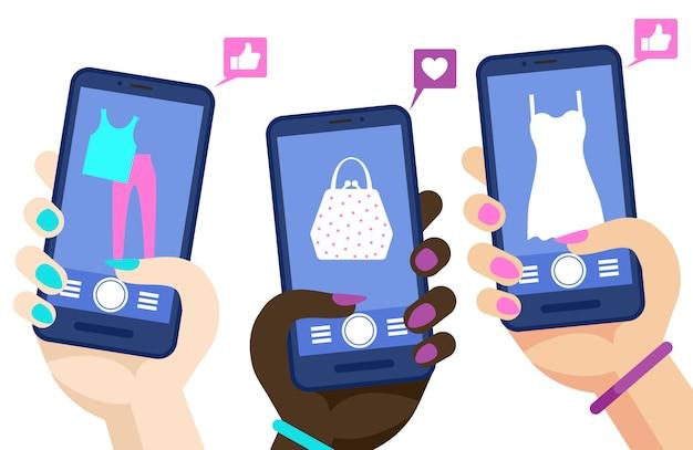 Telefon zakupy online koncepcja wektor. ręce trzymając smartfony z ilustracją stron marketig mediów społecznościowych