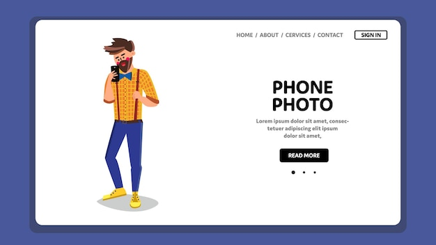 Telefon zdjęcie mężczyzna oglądać na ekranie smartfona wektor. brodaty chłopiec oglądając zdjęcie telefonu na gadżet wyświetlaczu. postać biorąca fotografię cyfrową na urządzeniu elektronicznym płaska ilustracja kreskówka w sieci