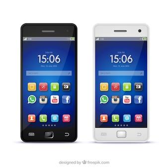 Telefony komórkowe w realistycznym stylu