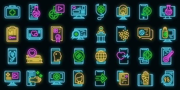 Telemedycyna zestaw ikon wektorowych neon