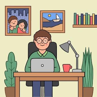 Telepracy pojęcie z mężczyzna w domu