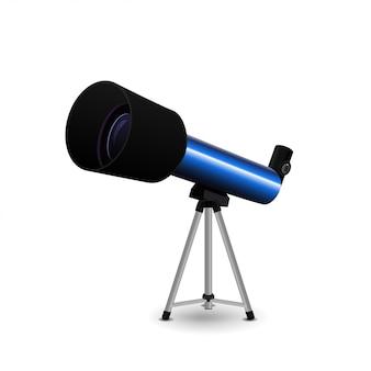 Teleskop na białym tle