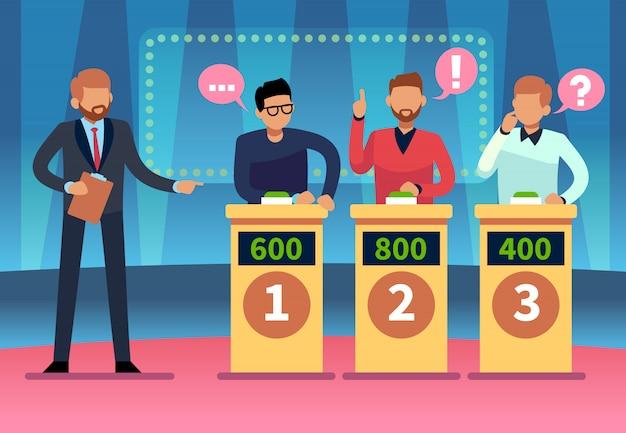 Teleturniej. sprytni młodzi ludzie grający quiz telewizyjny z showmanem, konkurs telewizyjny z ciekawostkami. projekt kreskówki