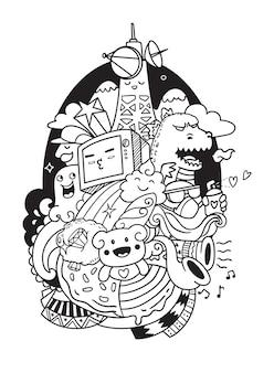 Telewizja doodle ilustracja