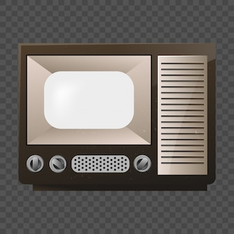 Telewizja retro. old school tv. makieta izoluj na przezroczystej siatce.