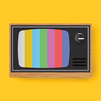 Telewizja retro tv rozrywka media ikona ilustracji