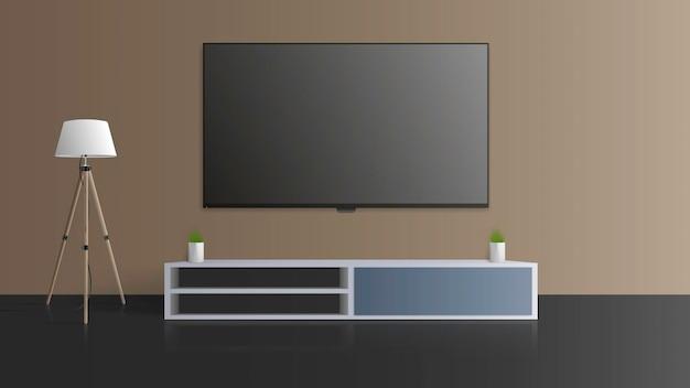 Telewizor na szarej ścianie. wyłącz telewizor, długi stolik nocny na poddaszu. ilustracja.