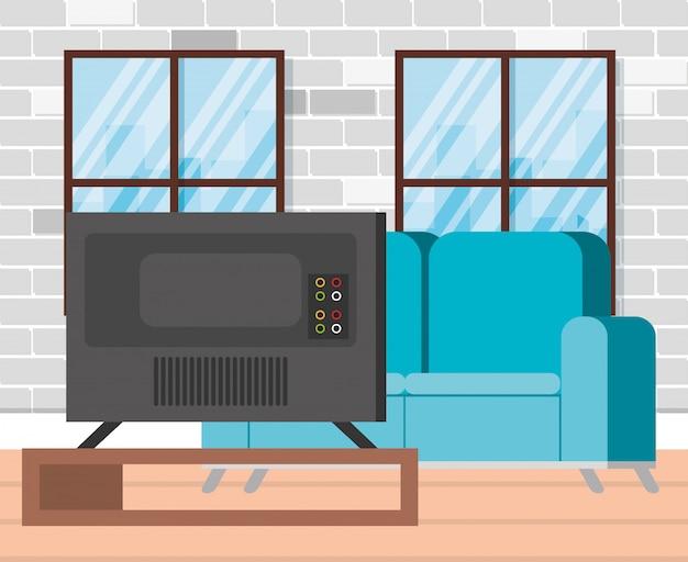Telewizor plazmowy z powrotem w salonie