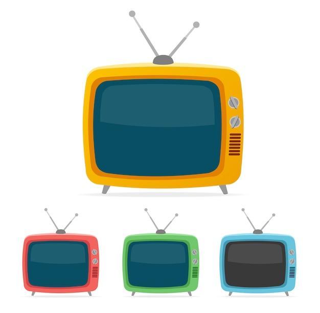 Telewizor retro kolor na białym tle.