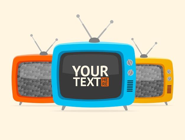 Telewizor retro. , pusty, baner, może być użyty do prezentacji twoich lub biznesowych