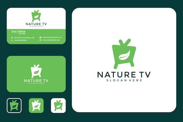Telewizor z logo liścia i wizytówką