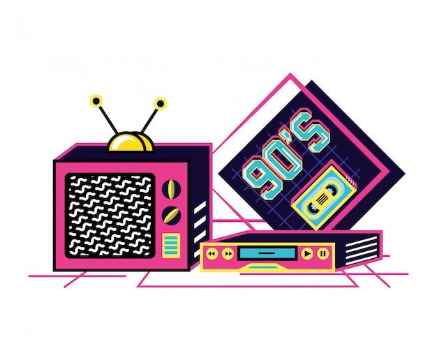 Telewizor z vhs lat dziewięćdziesiątych retro
