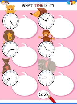 Telling time educational activity with clock face