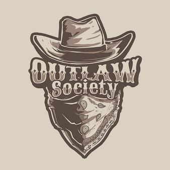 Temat cowboy outlaw illustration