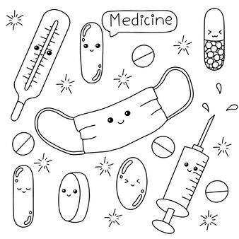Temat medycyny kolorowanka do kolorowania dla dzieci