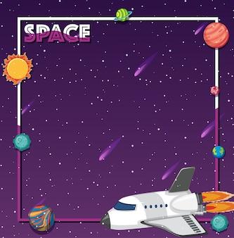Temat przestrzeni kosmicznej z rakietą i systemem słonecznym