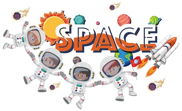Temat tła przestrzeni z astronautami i statkiem kosmicznym