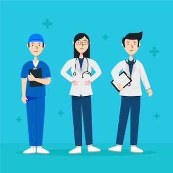 Tematu ilustracyjny drużynowy pracownik służby zdrowia