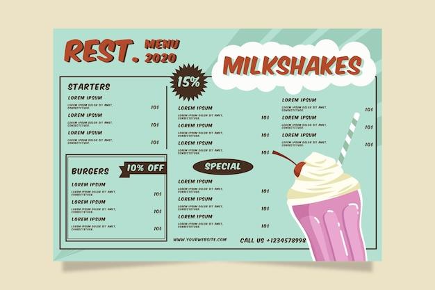 Tematu szablon menu rocznika zdrowej żywności