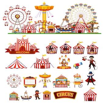 Tematyczne obiekty cyrkowe i dzieci na białym tle