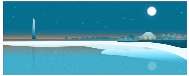 Tematyczny sztandar podróży do usa, waszyngton dc niebo zmierzchu w zimie.