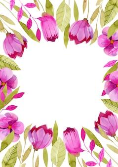 Temp karty, obramowanie z prostymi akwarelowymi różowymi kwiatami i zielonymi liśćmi