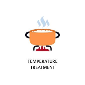 Temperatura lub obróbka cieplna garnka na płomień płaski wektor ilustracja na białym tle