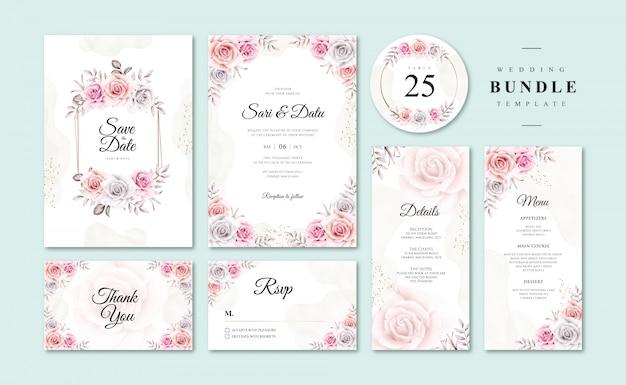 Templatess piękne akwarela kwiatowy ślub zaproszenia