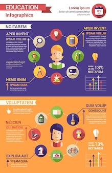 Tempo edukacji nowoczesnych płaskich ikon i infografiki