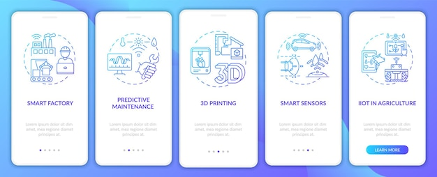 Tendencja przemysłu 4.0 wprowadzająca ekrany aplikacji mobilnych z koncepcjami. drukowanie 3d, iiot w rolnictwie, przewodnik 5 kroków szablon interfejsu użytkownika z kolorowymi ilustracjami rgb