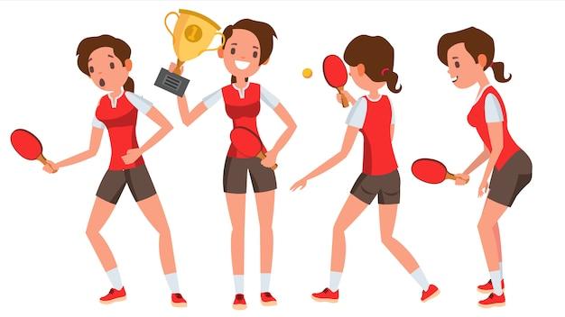 Tenis stołowy młoda kobieta gracz zestaw znaków
