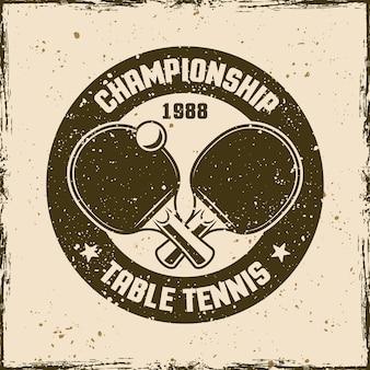 Tenis stołowy vintage okrągły godło, etykieta, odznaka lub logo. ilustracja wektorowa na tle z wymiennymi teksturami grunge